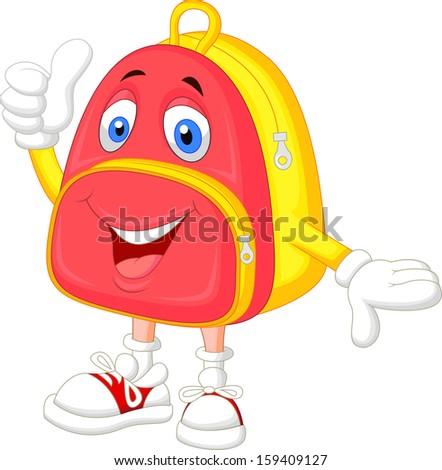 Cute bag cartoon with thumb up - stock vector