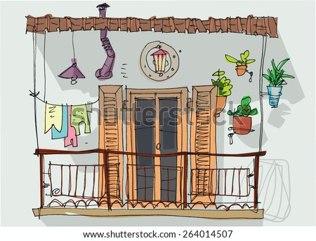 Iralu 39 s portfolio on shutterstock for Balcony cartoon