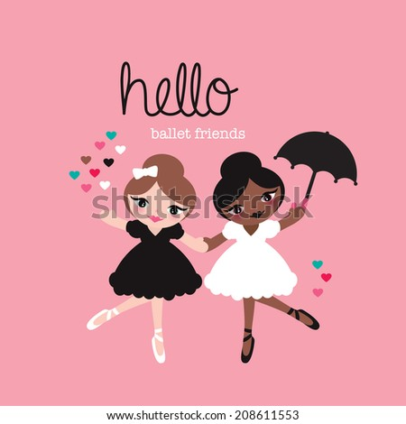 Cute ballerina dancing girls ballet friends illustration cover design in vector - stock vector