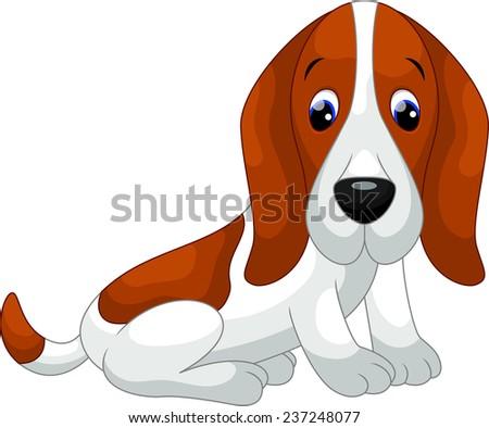 Cute Basset Hound dog cartoon - stock vector