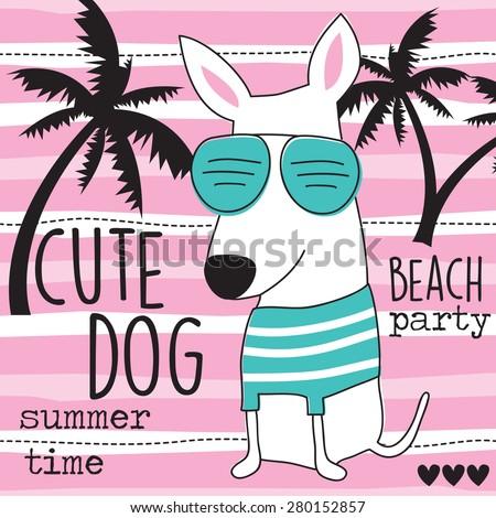cute beach dog vector illustration - stock vector