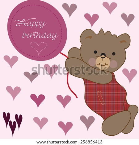 cute bear cub with hearts and a happy birthday balloon vector illustration - stock vector