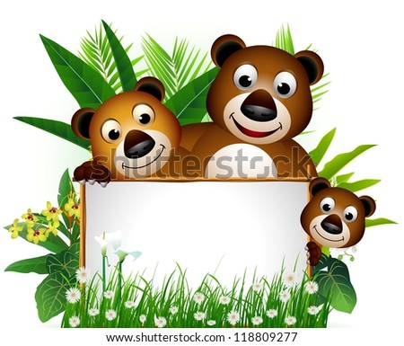cute bear family with blank sign and tropical forest background - stock vector