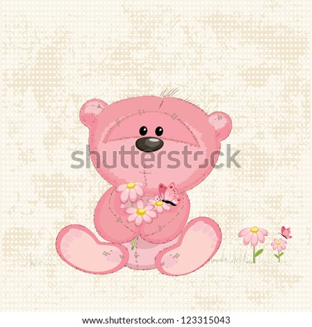 Cute bear with flowers - stock vector