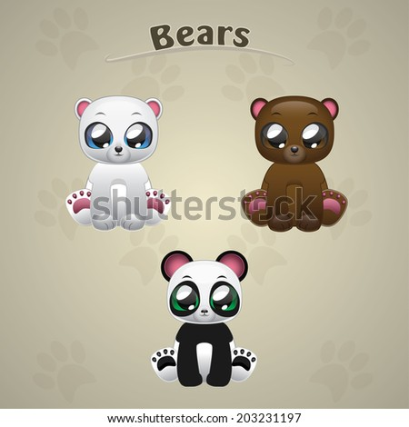 Cute Bears collection vector illustration art - stock vector