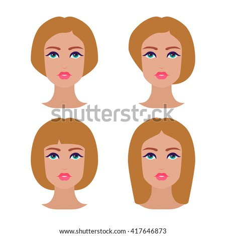 Cute beautiful young girls face with various hair style. Blonde women. Set of avatars. Vector collection - stock vector