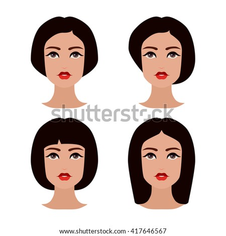 Cute beautiful young girls face with various hair style. Brunette women. Set of avatars. Vector collection - stock vector