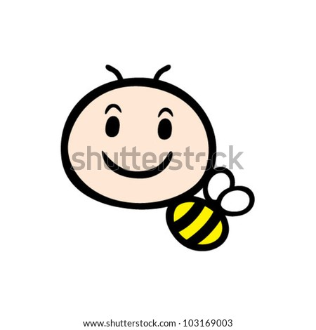 cute bee - stock vector