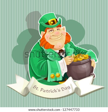 Cute big fat Leprechauns guard the pot of gold - Poster - stock vector
