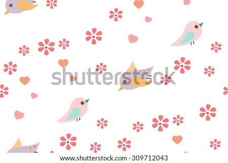 Cute Bird, Flower & Heart seamless pattern on white background. Childish textile. Cloth & rug design. Orange, Purple, Pink, Mint & White vector backdrop. Pastel colors. Hand drawn vector illustration. - stock vector