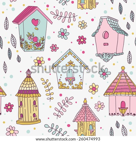 Cute Bird House Background - Seamless Pattern - in vector - stock vector