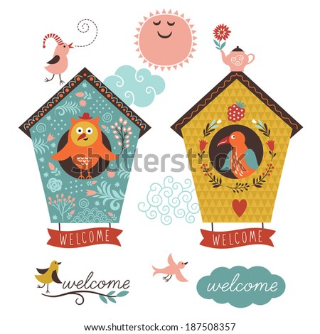 cute bird houses and welcome home lettering - stock vector