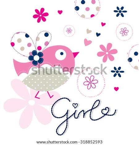 cute bird vector illustration - stock vector