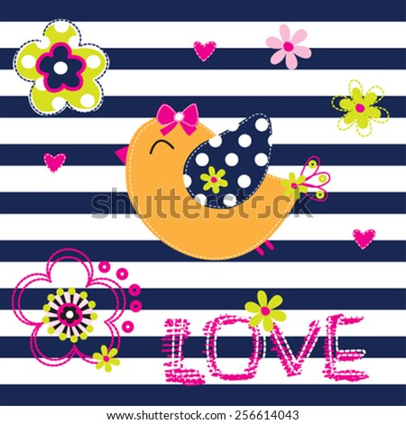 cute bird with flowers on striped background vector illustration - stock vector