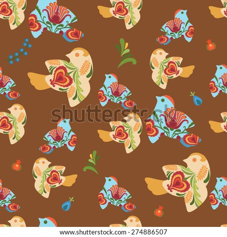 Cute birds on brown background. Vector seamless pattern - stock vector