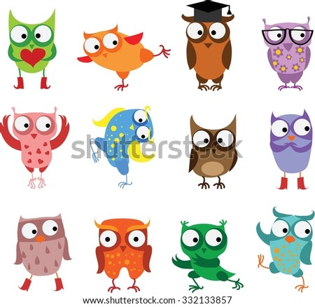 Cute birds owls in vector. Cartoon set - stock vector