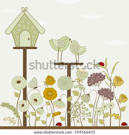 Cute birds with floral birdhouse and spring flowers - stock vector