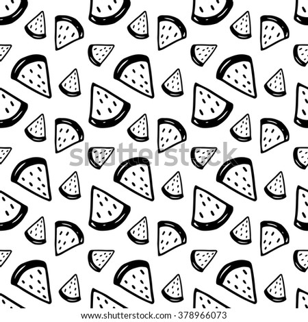 Cute black and white seamless pattern with hand drawn ink watermelons. Sweet vector summer background. - stock vector