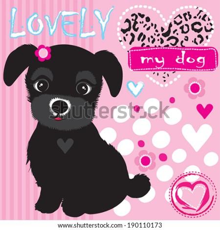cute black dog vector illustration - stock vector