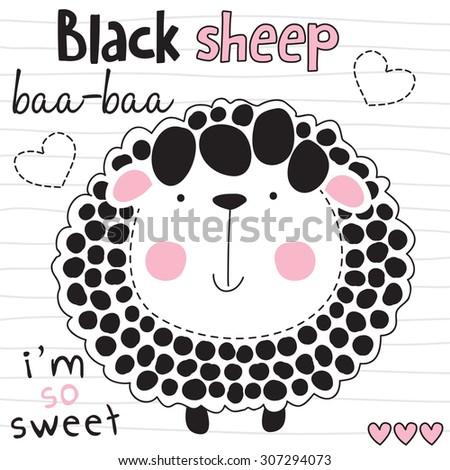 cute black sheep vector illustration - stock vector