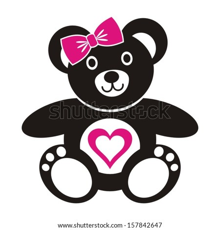 Cute black teddy bear girl icon with heart on a white background - stock vector