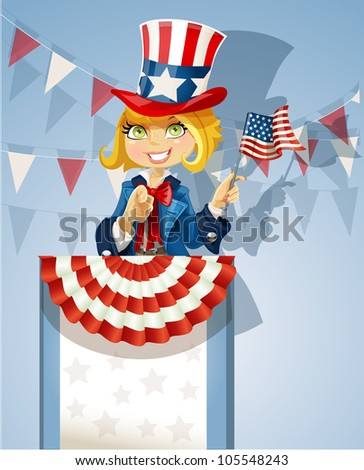 Cute blond girl in a suit of Uncle Sam stands on the podium with flag of USA - stock vector