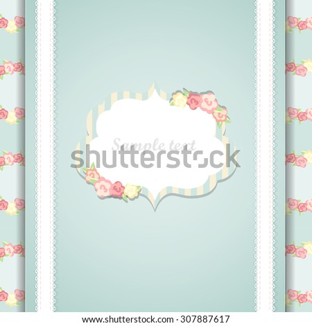Cute blue and pink happy birthday card. eps10. shabby chic - stock vector
