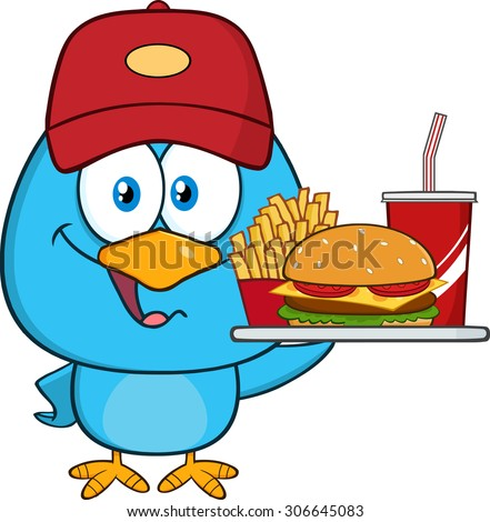 Cute Blue Bird Cartoon Character Holding A Platter With Burger, French Fries And A Soda. Vector Illustration Isolated On White - stock vector