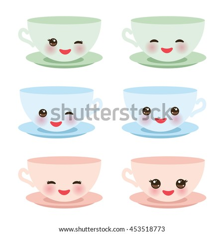 Cute blue pink green Kawaii cup set, coffee tea with pink cheeks and winking eyes, pastel colors on white background. Vector - stock vector