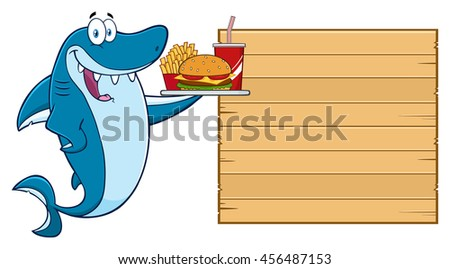 Cute Blue Shark Cartoon Mascot Character Holding A Platter With Burger, French Fries And A Soda To Wooden Blank Board. Vector Illustration Isolated On White Background - stock vector