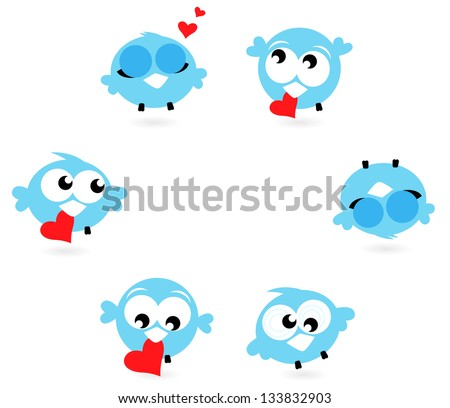 Cute blue twitter birds with red hearts isolated on white - stock vector