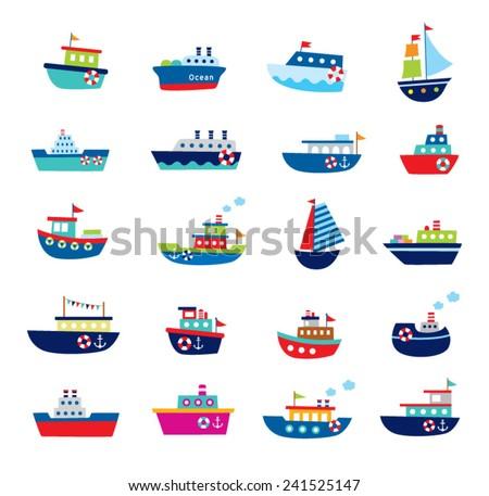 cute boat ship vector illustration - stock vector
