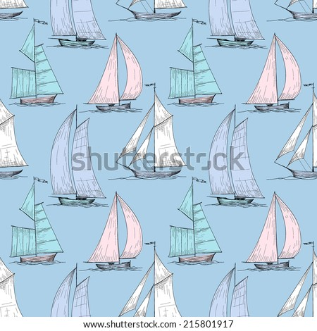 Cute boats sailing on sea seamless pattern - stock vector