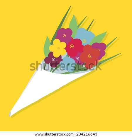 Cute bouquet of flowers. vector illustration  - stock vector