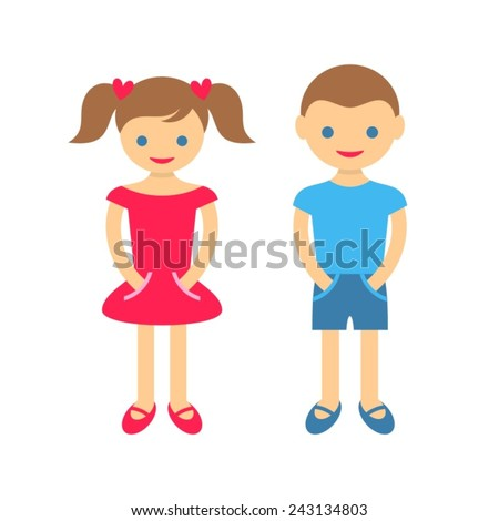 Cute boy and girl isolated on white background - stock vector