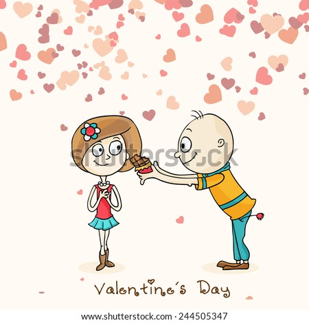 Cute boy cartoon offering chocolate to his beloved on hearts decorated background on occasion of Happy Valentines Day. - stock vector