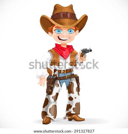 Cute boy dressed as a cowboy with revolver isolated on a white background - stock vector