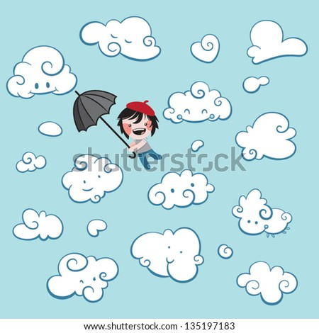 Cute boy flying with an umbrella, surrounded by smiling clouds - stock vector