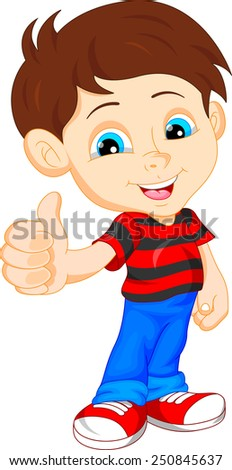 cute boy giving thumb up - stock vector