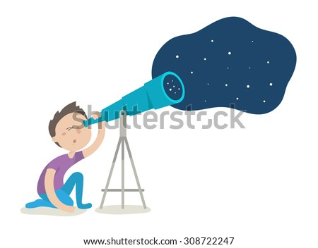 Cute boy watching through telescope on night starry sky. Flat design vector illustration isolated on white background - stock vector