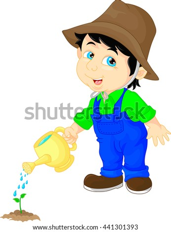 cute boy watering a plant - stock vector