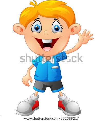 Cute boy waving hand - stock vector