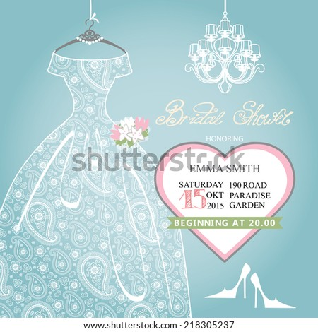 Cute Bridal shower invitation.Retro female's wedding  dress,high-heeled shoes,chandelier,heart label.Dress with paisley lace.Fashion vector Illustration - stock vector