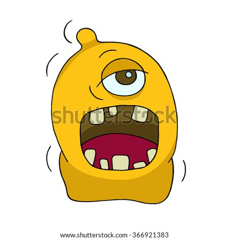 Cute bright monster or alien with one eye. Cartoon funny doodle cyclop smiling. Hand drawn yellow vector illustration isolated on white background.  - stock vector