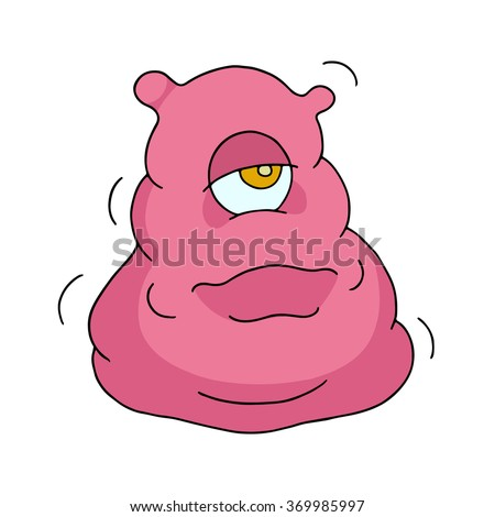 Cute bright monster or alien with one eye. Cartoon funny doodle cyclops smiling. Hand drawn pink vector illustration isolated on white background.  - stock vector