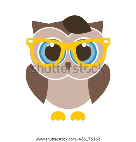 cute brown cartoon owl with yellow glasses - stock vector