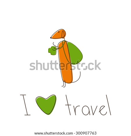 Cute brown contoured foxy colored dachshund with camera and lettering I love travel under it isolated on white background. Traveling concept, design element - stock vector