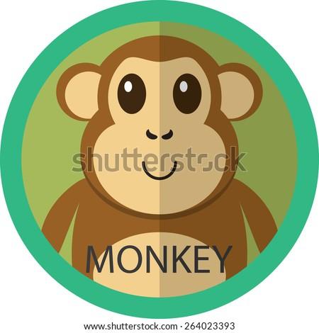 Cute brown monkey cartoon flat icon avatar round circle. - stock vector