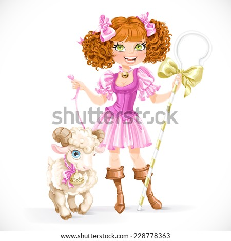 Cute brunette shepherdess with lamb isolated on a white background - stock vector
