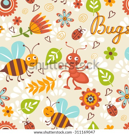 Cute bugs colorful seamless pattern in vector format - stock vector